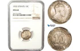 AB227-S, Straits Settlements, Edward VII, 10 Cent 1903, Silver, NGC MS64, Pop 2/1, Rare!