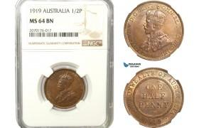 AB231, Australia, George V, Half Penny 1919, London, NGC MS64BN