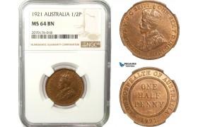 AB232, Australia, George V, Half Penny 1921, London, NGC MS64BN