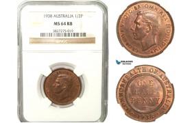 AB233, Australia, George VI, Half Penny 1938, NGC MS64RB
