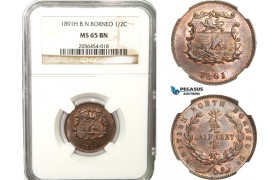 AB237, British North Borneo, 1/2 Cent 1891-H, Heaton, NGC MS65BN