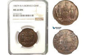 AB238, British North Borneo, 1 Cent 1887-H, Heaton, NGC MS64BN