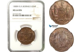 AB239, British North Borneo, 1 Cent 1888-H, Heaton, NGC MS64BN (Marks on slab)