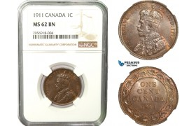 AB243, Canada, George V, 1 Cent 1911, NGC MS62BN