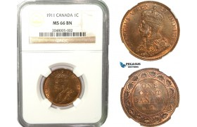 AB244, Canada, George V, 1 Cent 1911, NGC MS66BN