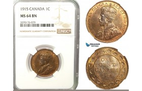 AB245, Canada, George V, 1 Cent 1915, NGC MS64BN