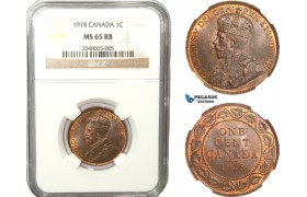 AB248, Canada, George V, 1 Cent 1918, NGC MS65RB