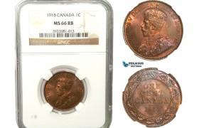 AB249, Canada, George V, 1 Cent 1918, NGC MS66RB, Rare grade!