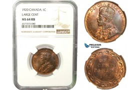 AB251, Canada, George V, 1 Cent 1920, NGC MS64RB (Large Cent)
