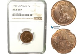 AB252, Canada, George V, 1 Cent 1929, NGC MS64BN