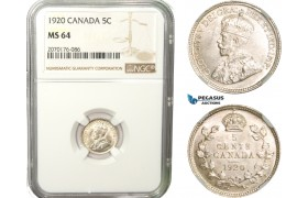 AB254, Canada, George V, 5 Cents 1920, Silver, NGC MS64