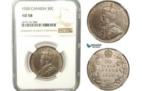 AB256, Canada, George V, 50 Cents 1920, Silver, NGC AU58