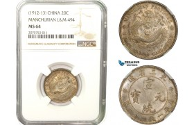 AB258, China, Manchurian Provinces, 20 Cents ND (1912-13) Silver, L&M 494, NGC MS64