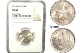 AB261, Cuba, 20 Centavos 1920, Philadelphia, Silver, NGC MS62