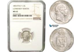 AB265, Italy, Lombardy-Venetia, Franz Joseph, 1/2 Lira 1854-V, Venice, Silver, NGC MS62, Rare!