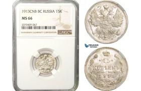 AB271, Russia, Nicholas II, 15 Kopeks 1913 СПБ-BC, St. Petersburg, Silver, NGC MS66