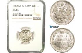 AB274, Russia, Nicholas II, 20 Kopeks 1913 СПБ-BC, St. Petersburg, Silver, NGC MS66