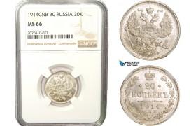 AB275, Russia, Nicholas II, 20 Kopeks 1914 СПБ-BC, St. Petersburg, Silver, NGC MS66