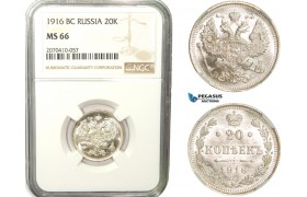 AB277, Russia, Nicholas II, 20 Kopeks 1916 СПБ-BC, St. Petersburg, Silver, NGC MS66
