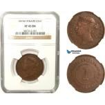 AB279, Straits Settlements, Victoria, 1 Cent 1874-H, Heaton, NGC XF45BN