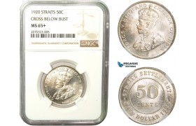 AB281, Straits Settlements, George V, 50 Cents 1920, Silver, NGC MS65+ (Cross below bust)