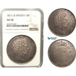 AB282, Sweden, Carl XIV, Riksdaler 1821 LB, Stockholm, Silver, SM 9, NGC AU58