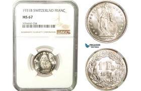 AB283, Switzerland, 1 Franc 1931-B, Bern, Silver, NGC MS67