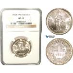 AB284, Switzerland, 2 Francs 1920-B, Bern, Silver, NGC MS67