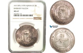 "AB285, United Arab Emirates, Ajman, 7.5 Rials AH1389 / 1970, Silver, NGC MS67 ""Barbary Falcon"""