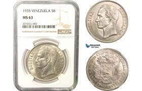 AB287, Venezuela, 5 Bolivares 1935, Philadelphia, Silver, NGC MS63