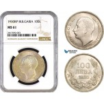 AB291, Bulgaria, Boris III, 100 Leva 1930-BP, Budapest, Silver, NGC MS61