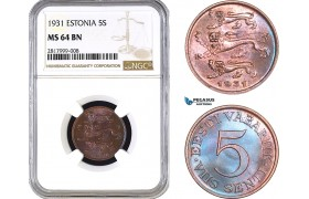 AB296, Estonia, 5 Senti 1931, NGC MS64BN