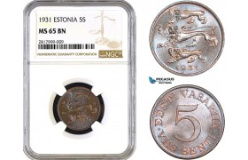 AB297, Estonia, 5 Senti 1931, NGC MS65BN