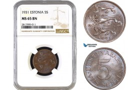 AB299, Estonia, 5 Senti 1931, NGC MS65BN