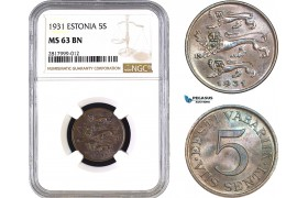 AB300, Estonia, 5 Senti 1931, NGC MS63BN