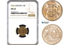 AB301, Estonia, 10 Senti 1931, NGC MS62
