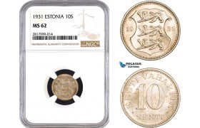 AB302, Estonia, 10 Senti 1931, NGC MS62
