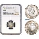 AB305, France, Napoleon, Demi Franc AN 13-Q, Perpignan, Silver, NGC MS61, Pop 1/0, Rare!