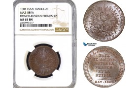 AB306, France & Russia, 2 Francs (AN 9) 1801 ESSAI, Maz-589A, NGC MS63BN, Pop 1/0, Rare!