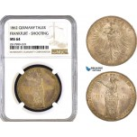 AB308, Germany, Frankfurt, Shooting Taler 1862, Silver, NGC MS64