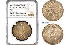 AB308, Germany, Frankfurt, Shooting Taler 1862, Silver, NGC MS64