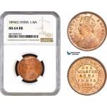 AB310, India, Victoria, 1/4 Anna 1894 (C) Calcutta, NGC MS64RB