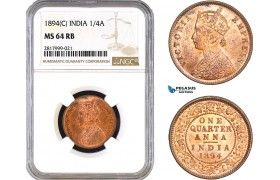 AB310, India, Victoria, 1/4 Anna 1894 (C) Calcutta, NGC MS64RB