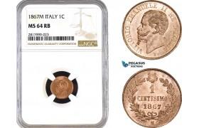 AB312, Italy, Vit. Emanuele II, 1 Centesimo 1867-M, Milan, NGC MS64RB