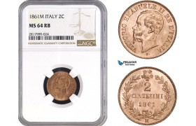 AB313, Italy, Vit. Emanuele II, 2 Centesimi 1861-M, Milan, NGC MS64RB