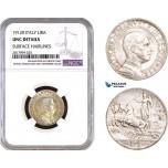 AB314, Italy, Vit. Emanuele III, 1 Lira 1912-R, Rome, Silver, NGC UNC Details