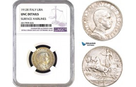 AB314, Italy, Vit. Emanuele III, 1 Lira 1912-R, Rome, Silver, NGC UNC Details