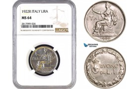 AB315, Italy, Vit. Emanuele III, 1 Lira 1922-R, Rome, NGC MS64