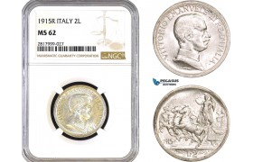 AB316, Italy, Vit. Emanuele III, 2 Lire 1915-R, Rome, Silver, NGC MS62