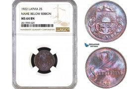 AB318, Latvia, 2 Santimi 1922, NGC MS64BN